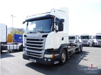 Hook lift truck Scania R 410 LB6X2*4HNA  NLA Lenk-/ Liftbar HIAB-Abroller