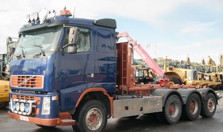 hook lift truck Volvo FH12 500 8X4 HIAB KROK