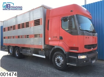 Renault Premium 385 6X2, 2 layers Animal transport, Roof height adjustable, Manual, Telma Retarder, Hub reduction - livestock truck