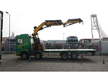 Truck Scania R 500 8X2 BOAT TRANSPORT WITH PALFINGER PK 85002 CRANE WITH JIB PJ 170