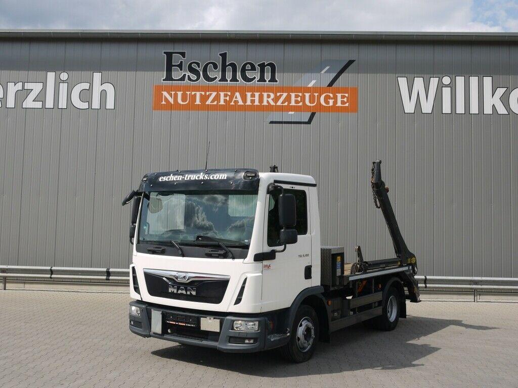 skip loader truck MAN TGL 8.180 4x2 BB,Meiller Teleabsetzer AK 4, Funk