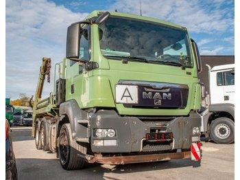 Skip loader truck MAN TGS 26.400 6x2/4 BLS Meiller Absetzkipper teleskob