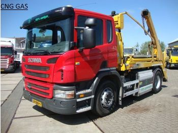 Scania 310 hyva PORTAAL LIFT14 ton CNG aardgas - skip loader truck