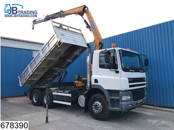 DAF 85 CF 380 6x4, Manual, Steel suspension, Effer crane, Remote control, Analoge tachograaf, Hub reduction, Borden - tipper
