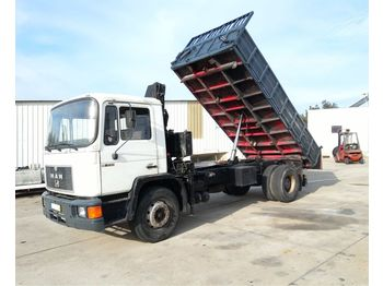 MAN 18.232 left hand drive 6 cylinder 17.7 ton with PM102 crane - tipper