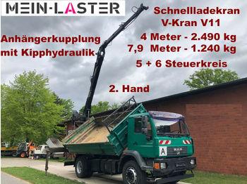 Tipper MAN 18.280   V-Kran 7,9m-1.240 kg 5+6 Steuerkreis