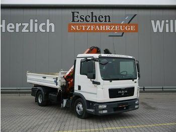 Kipper vrachtwagen MAN TGL 12.250 BB, 4x2, Atlas 75.2 Kran, Klima, EEV