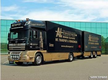 DAF FA XF105.410 EURO 5 SCHUIFZEIL / PLAYWOOD HARDHOUTEN VLOER 2 TONS KLEP - schuifzeilen vrachtwagen